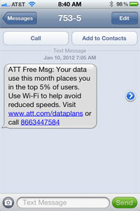 AT&T text message on usage